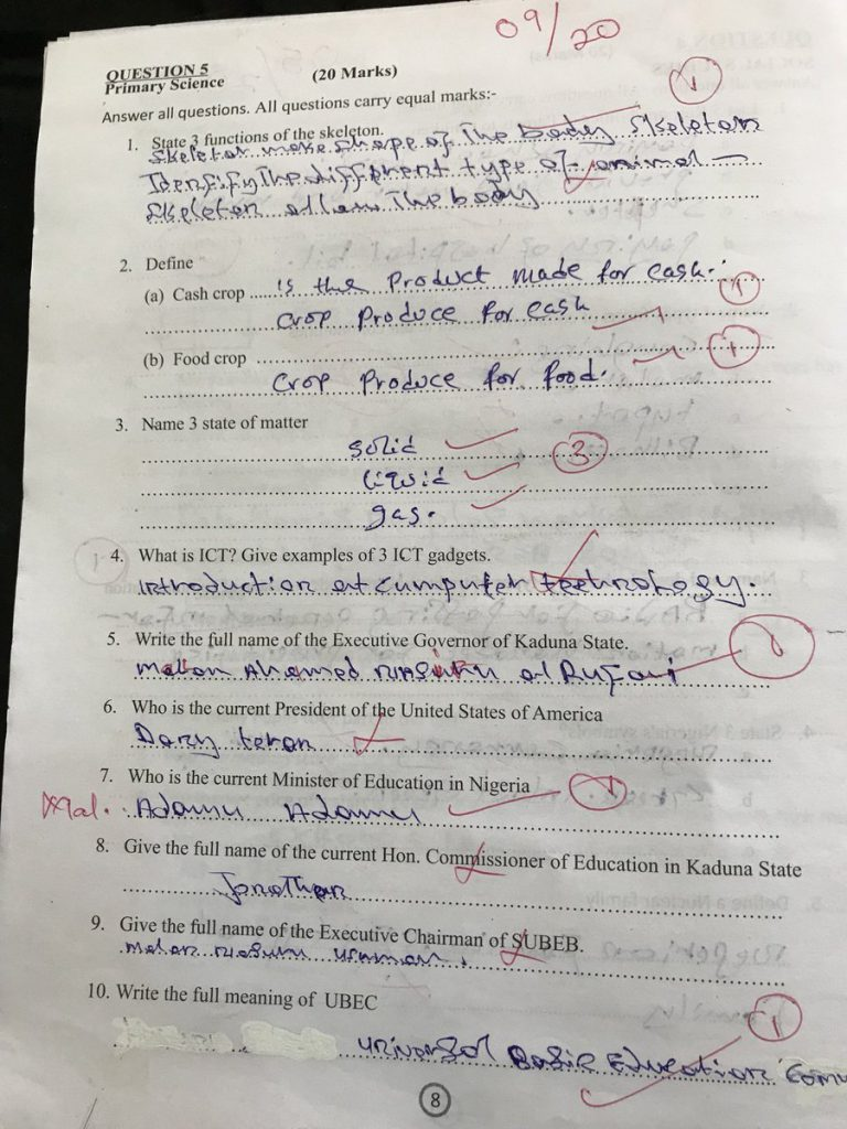Kaduna Answer Sheet 4