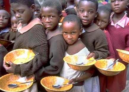 Hunger, begging children