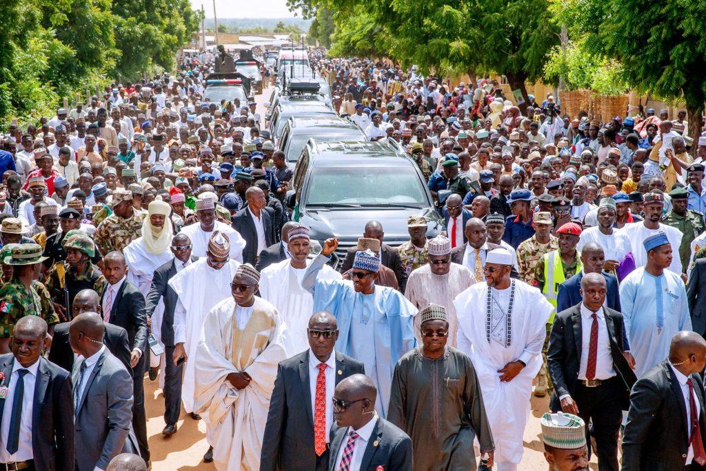 Buhari Treking from Mosque