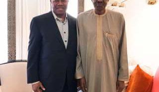 Senator Akpabio with President Buhari in London
