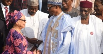 President Muhammadu Buhari congratulating the Chairman, Tripartite Committee on the National Minimum Wage Amal Pepple during the submission of the report of the Committee to President Buhari at the Presidential Villa in Abuja on Tuesday (6/11/18)/6/11/2018/Callistus Ewelike/NANPic 14. From left: President Muhammadu Buhari congratulating the Minister of Labour and Employment, Sen Chris Ngige on the successful submission of the report of the Committee to President Buhari at the Presidential Villa in Abuja on Tuesday (6/11/18)/6/11/2018/Callistus Ewelike/NAN