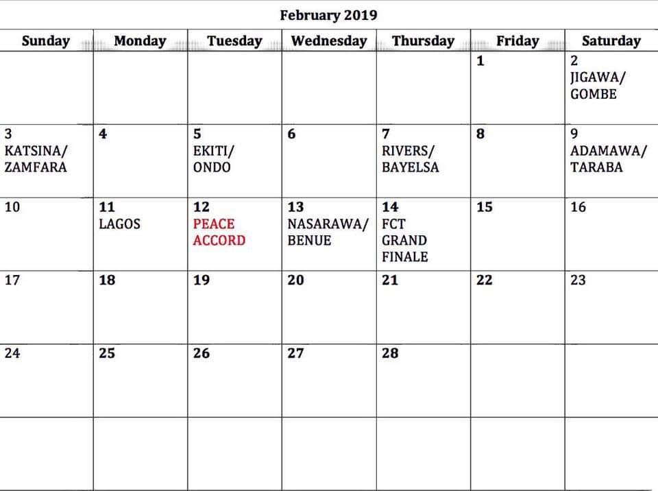 Buhari Campaign Time Table