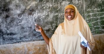 Female Muslim woman teaching Source: Global Partnership for Education